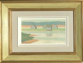 Four Fishhouses, Grey Morning,  Gabarus, Cape Breton, N.S.