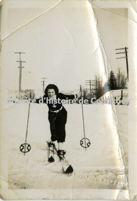 Woman on skis