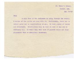 Letter to parents, Spanish flu