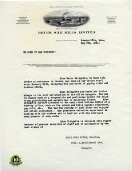 Reference letter for Doris Bridgette