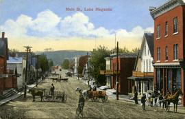 Main Street, Lake Megantic, mountain in view