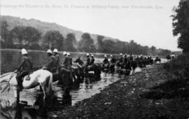 Military Horses Drinking Water