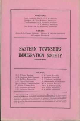 Eastern Townships Immigration Society Publication