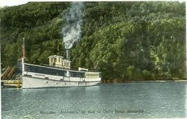 "Steamer ""Anthemis"" at foot of Owl's Head Mountain"