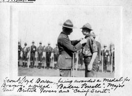 Scout Lloyd Bowen receiving Medal for Bravery