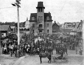 Magog Town Hall with 52nd Battalion band among crowd