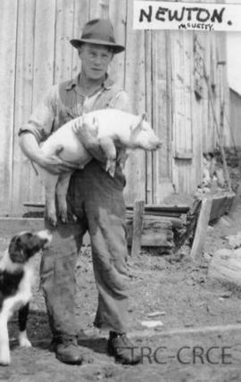 Newton McVetty with pig