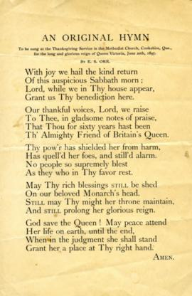 An Original Hymn, Cookshire Methodist Church