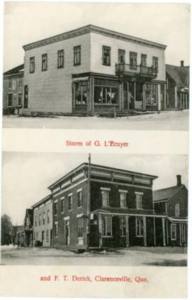 Stores of G. L'Ecuyer and F.T. Derick, Clarenceville, Que.