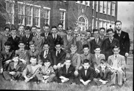 Class of Mr. Fortier in 1950-1951 in front of the College