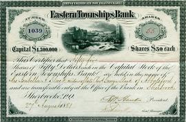 Eastern Townships Bank Certificate of Shares