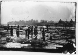 Driving logs on the St. Francis River, Drummondville