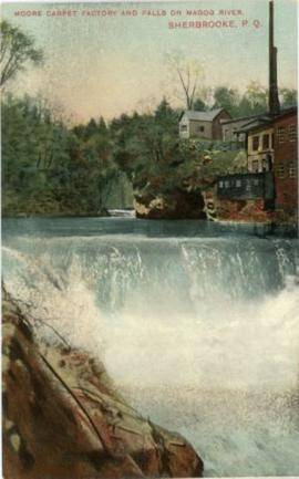 Moore Carpet Factory and Falls on Magog River, Sherbrooke, P.Q.