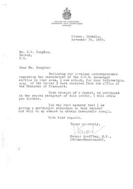 Letter from Heward Grafftey M.P. to C.S. Douglas