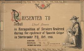 Certificate of service during the Spanish Flu