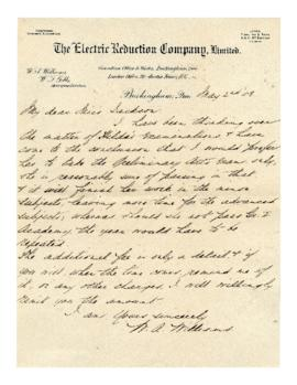 Letter from W.A. Williams