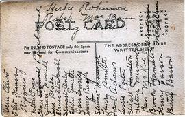 WWI postcard, inscription