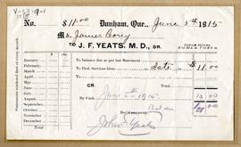 Receipt from J.P. Yeats